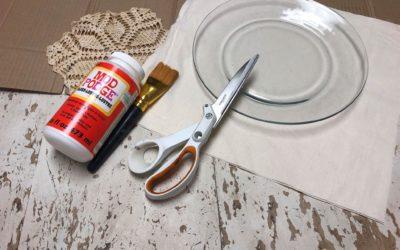 Decoupaged Glass Plate