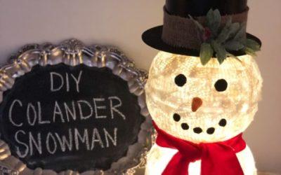 DIY Colander Snowman