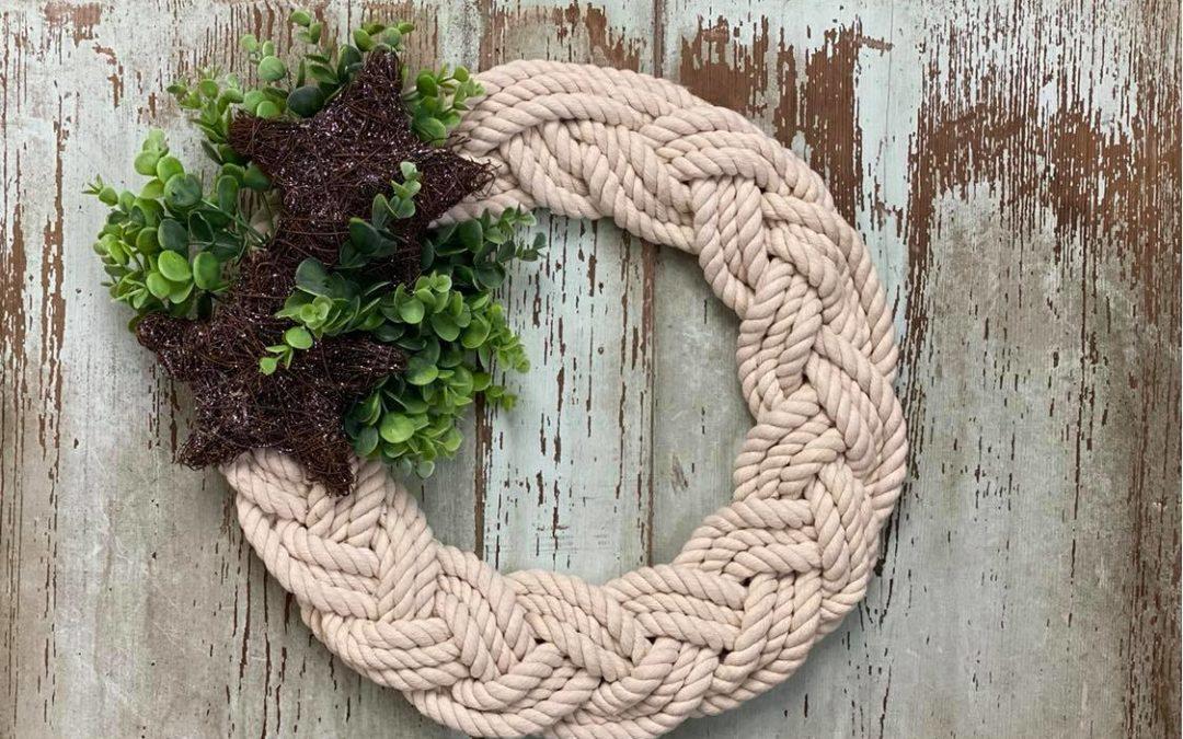 DIY Braided Nautical Rope Wreath