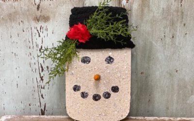 DIY Wooden Mason Jar Snowman Head